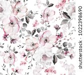 Stock photo seamless pattern with spring pink flowers and leaves hand drawn background floral pattern for 1022398690