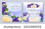 floral vector card set with... | Shutterstock .eps vector #1022400553