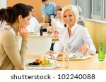 cafeteria lunch young business... | Shutterstock . vector #102240088