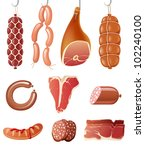 10 highly detailed meat icons | Shutterstock .eps vector #102240100