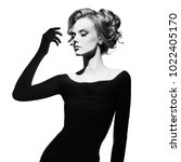 black and white art fashion... | Shutterstock . vector #1022405170