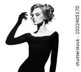 black and white art fashion... | Shutterstock . vector #1022405170