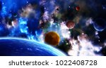 a beautiful space scene with... | Shutterstock . vector #1022408728