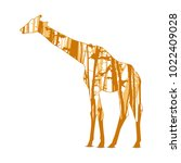 silhouette of giraffe with... | Shutterstock .eps vector #1022409028