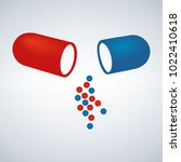 blue and red capsule ... | Shutterstock .eps vector #1022410618