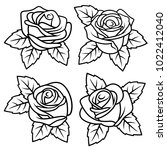 roses with leaves. vectors | Shutterstock .eps vector #1022412040