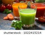 assortment of vegetable juices  ... | Shutterstock . vector #1022415214