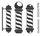 barber shop poles silhouettes... | Shutterstock .eps vector #1022417998