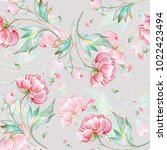 seamless peony pattern with... | Shutterstock . vector #1022423494