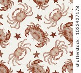 vector seafood seamless pattern ... | Shutterstock .eps vector #1022427178