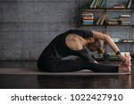 young woman practicing yoga ... | Shutterstock . vector #1022427910
