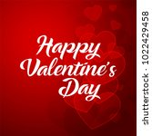 happy valentines day typography ... | Shutterstock .eps vector #1022429458
