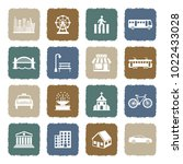 city icons. grunge color flat... | Shutterstock .eps vector #1022433028