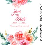 calligraphy save the date.... | Shutterstock . vector #1022435974