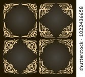 vector set of decorative golden ... | Shutterstock .eps vector #1022436658