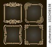 vector set of decorative golden ... | Shutterstock .eps vector #1022438158