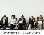 nervous applicants preparing... | Shutterstock . vector #1022439346