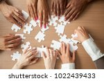 hands of diverse people... | Shutterstock . vector #1022439433