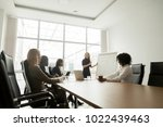 smiling businesswoman giving... | Shutterstock . vector #1022439463