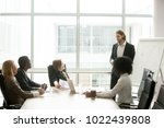 businessman gives presentation... | Shutterstock . vector #1022439808