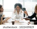 stressed overwhelmed african...   Shutterstock . vector #1022439829