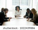 businessman and businesswoman... | Shutterstock . vector #1022439886