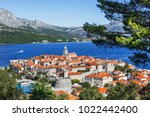 view of the korcula town ... | Shutterstock . vector #1022442400