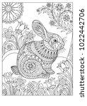 spring rabbit coloring page for ... | Shutterstock .eps vector #1022442706