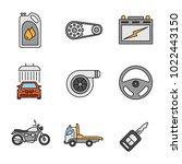 auto workshop color icons set.... | Shutterstock .eps vector #1022443150