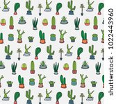 hand drawn tropical cactus... | Shutterstock .eps vector #1022443960
