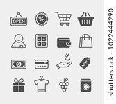 shopping flat vector icons set. ... | Shutterstock .eps vector #1022444290