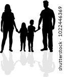 vector silhouette of family. | Shutterstock .eps vector #1022446369
