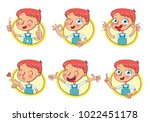 boy in different situations.... | Shutterstock .eps vector #1022451178