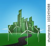 green city  wind generator ...   Shutterstock .eps vector #1022454088