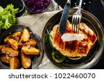 grilled chicken fillet and... | Shutterstock . vector #1022460070