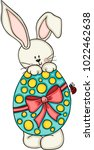 cute bunny with easter egg  | Shutterstock .eps vector #1022462638