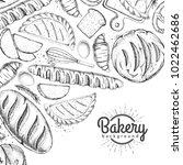 bakery background. top view of... | Shutterstock .eps vector #1022462686