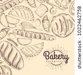 bakery background. top view of... | Shutterstock .eps vector #1022462758