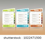 price list widget with 3... | Shutterstock .eps vector #1022471500