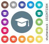 graduation cap flat white icons ... | Shutterstock .eps vector #1022472304