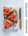 smorrebrod  traditional danish...   Shutterstock . vector #1022475010