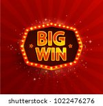 big win retro banner with... | Shutterstock . vector #1022476276