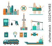 set of oil industry extraction... | Shutterstock .eps vector #1022476483