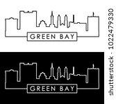 green bay skyline. linear style.... | Shutterstock .eps vector #1022479330