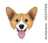 pembroke welsh corgi dog head... | Shutterstock .eps vector #1022479336
