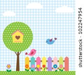 background with birds and...   Shutterstock .eps vector #102247954