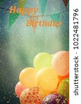 many colorful balloons in the... | Shutterstock . vector #1022481796