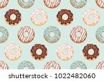 seamless pattern with glazed... | Shutterstock .eps vector #1022482060