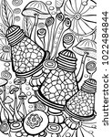 mushrooms coloring antistress... | Shutterstock .eps vector #1022484844