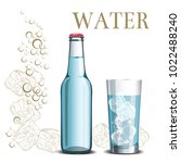bottle of water and a glass on... | Shutterstock .eps vector #1022488240